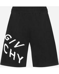 Givenchy Refracted Logo Cotton Shorts - Black