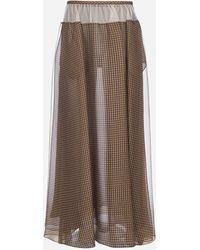 Fendi Vichy Print Silk Organza Maxi Skirt - Brown