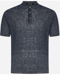 Tagliatore Linen Polo Shirt - Blue