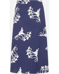 Prada Floral Print Cotton Skirt - Blue