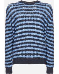 Prada Alpaca Wool Striped Sweater - Blue