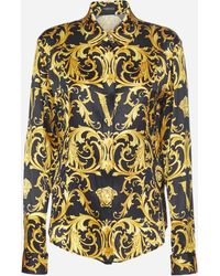 Versace Camicia in twill di seta con stampa V Barocco - Giallo