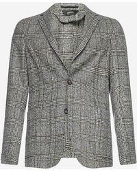 Z Zegna Check Wool Blazer - Grey