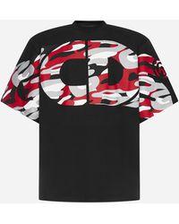 Gcds Camouflage Logo Cotton T-shirt - Black