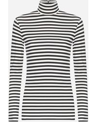 Burberry Striped Stretch Jersey Turtleneck - Black