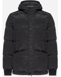 Stone Island Hooded Quilted Nylon Down Jacket - Black