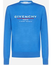 Givenchy Logo Wool Sweater - Blue