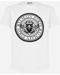 Balmain T-shirt in cotone con medaglione-logo - Multicolore