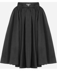 Prada Logo-plaque Re-nylon Full Skirt - Black