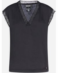 DKNY - Top con pizzo - Lyst