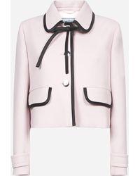 Prada Tie-neck Wool Cropped Jacket - Pink