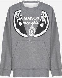 MM6 by Maison Martin Margiela Logo Print Deconstructed Sweatshirt - Gray