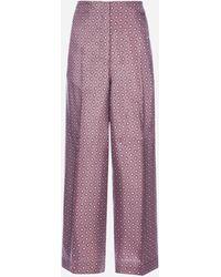 Max Mara Canasta Printed Silk Twill Pants - Purple