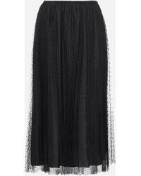 RED Valentino Pleated Tulle Midi Skirt - Black