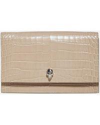 Alexander McQueen - Skull Crocodile-effect Leather Medium Bag - Lyst
