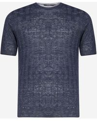 Tagliatore Ribbed Linen Knit T-shirt - Blue