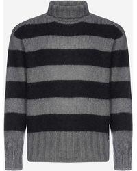 Fendi Striped Mohair And Wool-blend Turtleneck - Black