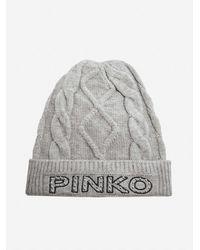 Pinko Camarino Logo Cable-knit Beanie - Grey