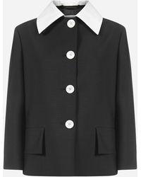 Prada Kid Mohair And Wool Blazer - Black