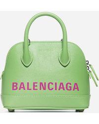 Balenciaga Xxs Ville Leather Top Handle Bag - Green