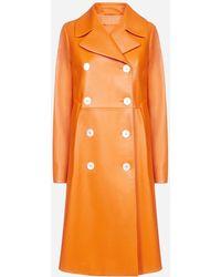 Prada Double-breasted Knee-length Leather Coat - Orange