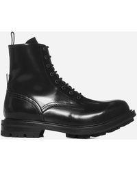 Alexander McQueen Leather Combat Boots - Black