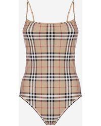 Burberry Delia Vintage Check Print Swimsuit - Multicolor