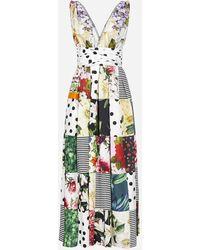 Dolce & Gabbana Abito lungo in cotone con stampa patchwork - Multicolore