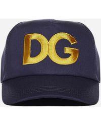 Dolce & Gabbana Cappello da baseball in cotone con logo - Blu