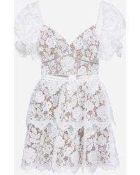 Self-Portrait Sweetheart-neckline Lace Mini Dress - White