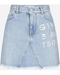 Givenchy Logo Print Denim Miniskirt - Blue