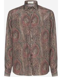 Etro Long Sleeve Paisley Print Silk Shirt - Brown
