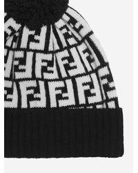 Fendi Ff Logo Wool Beanie - Black