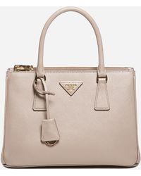 Prada Galleria Saffiano Leather Small Bag - Natural