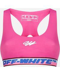 Off-White c/o Virgil Abloh Top bra con logo - Rosa