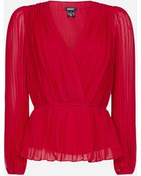 DKNY Blusa in chiffon plisse' - Rosso
