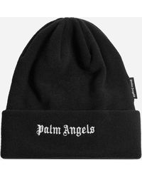 Palm Angels Logo Wool Beanie - Black