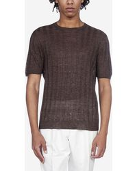 Tagliatore Ribbed Linen Knit T-shirt - Multicolour