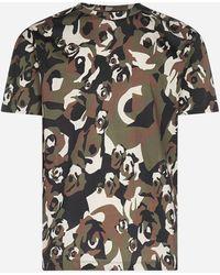 Les Hommes Camouflage Print Cotton T-shirt - Black