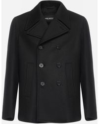 Neil Barrett Wool-blend Double-breasted Pea Coat - Black