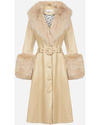 Saks Potts Fox-fur Trimmed Lambskin Coat - Natural