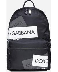 Dolce & Gabbana Zaino Vulcano in nylon con etichette-logo - Nero