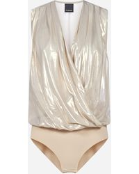 Pinko Ines Metallized Satin Bodysuit - Multicolor