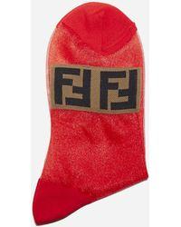 Fendi Ff Logo Trasparente Nylon Socks - Red