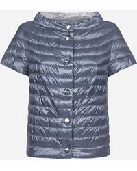 Herno Reversible Quilted Nylon Short Sleeves Down Jacket - Blue