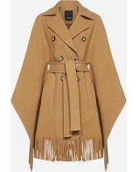 Pinko Puerta Fringed Virgin Wool Blend Cape - Brown