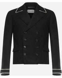 Saint Laurent Wool Double-breasted Spencer Blazer - Black