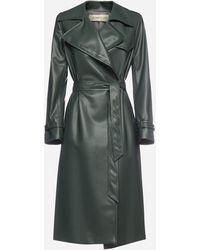Blanca Vita Tulipa Faux-leather Trench Coat - Green