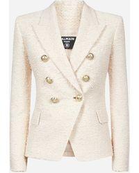 Balmain Double-breasted Tweed Blazer - Natural