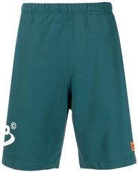Heron Preston Logo Print Sweat-shorts - Blue